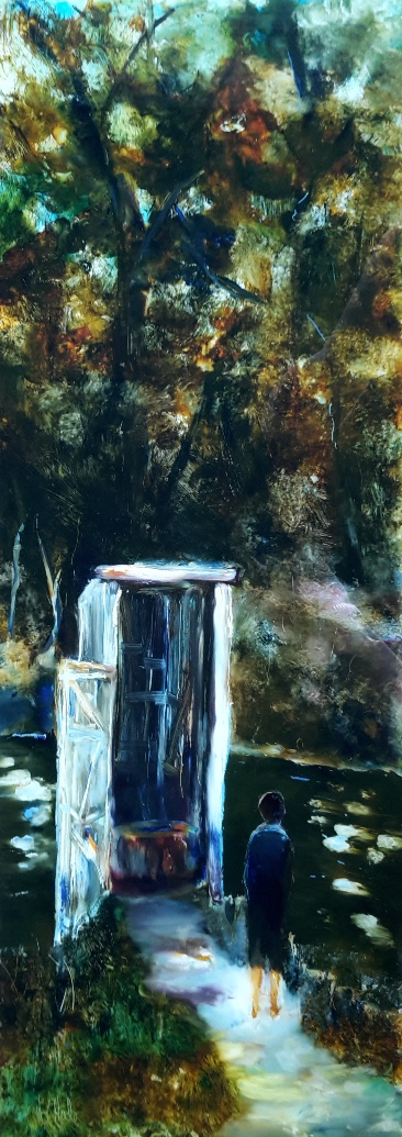 sold The Boy and the Out House oil on glass