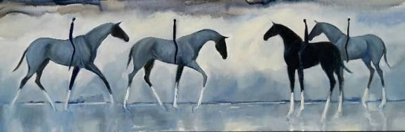 Arriving Late With Grace. oil on canvas,1525x500. $2500