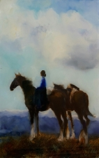 New Horizons , Woman with Packhorse, oil on Glass 470x298mm $720