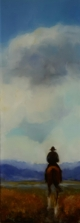 Man Alone, New Horizons , oil on Glass 435x155 mm $590